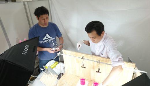 油吸着材の性能検証動画の撮影